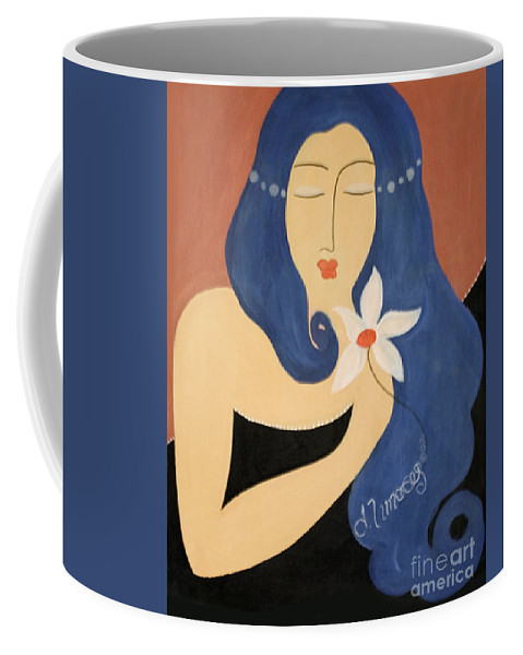 #female Coffee Mug featuring the painting Page by Jacquelinemari