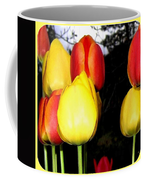 Painted Country Tulips Coffee Mug featuring the digital art Painted Country Tulips by Will Borden