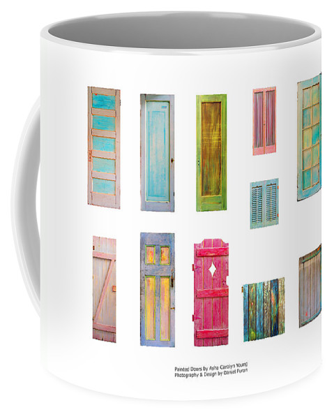 Mixed Media On Old Wooden Doors; Door Paintings; Painted Doors Coffee Mug featuring the painting Painted Doors And Window Panes by Asha Carolyn Young and Daniel Furon