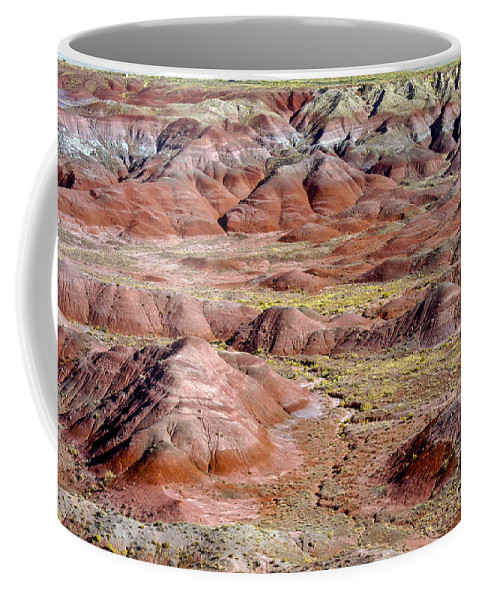 Painted Desert Petrified Forrest National Park Arizona Parks Rock Mound Colored Clay Clays Sandstone Mounds Desert Deserts Desertscape Desertscapes Landscape Landscapes Landmarks Landmark Coffee Mug featuring the photograph Painted Mounds by Bob Phillips