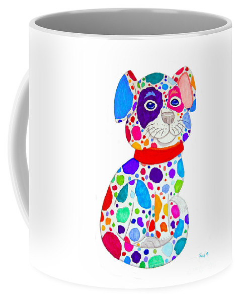 Dog Coffee Mug featuring the drawing Painted Pooch by Nick Gustafson