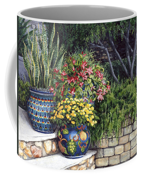 Floral Coffee Mug featuring the painting Painted Pots by Mary Palmer