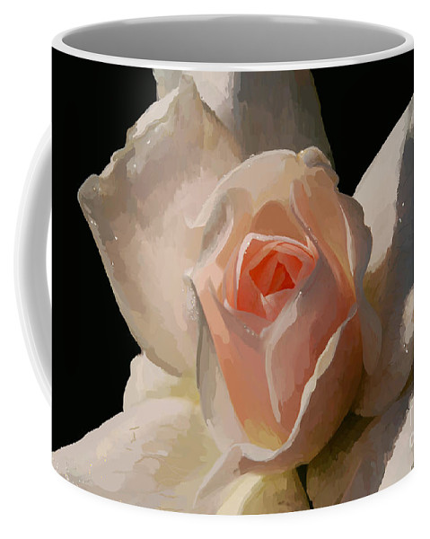 Rose Coffee Mug featuring the digital art Painted Rose by Lois Bryan