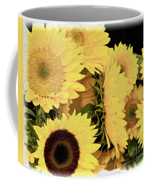 Sunflowers Coffee Mug featuring the photograph Painted Sunflowers by Tom Gari Gallery-Three-Photography