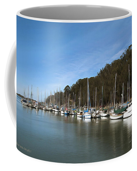 Marina Coffee Mug featuring the painting Painting Bay Side Harbor by Barbara Snyder