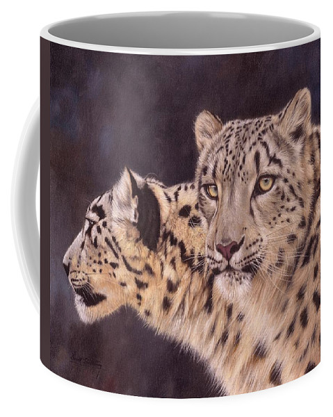 Snow Leopard Coffee Mug featuring the painting Pair Of Snow Leopards by David Stribbling