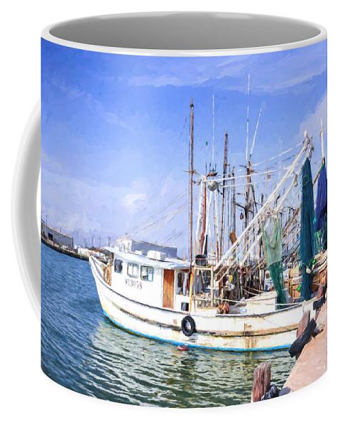 Palacios Coffee Mug featuring the photograph Palacios Texas Shrimp Boat Lineup by JG Thompson