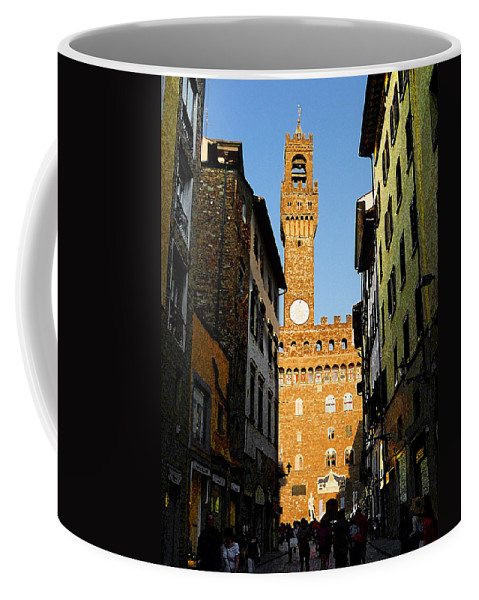 Italy Coffee Mug featuring the photograph Palazzo Vecchio In Florence Italy by Irina Sztukowski