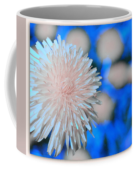 Flower Coffee Mug featuring the photograph Pale Pink Bright Blue by Kathy Barney