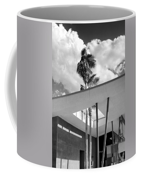 Desert Coffee Mug featuring the photograph Palm Springs Animal Shelter Palms Bw Palm Springs by William Dey