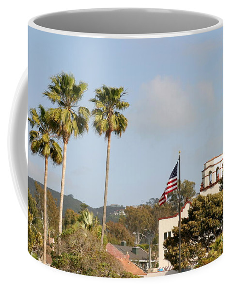 America Coffee Mug featuring the photograph Palm Tree Flag by Henrik Lehnerer