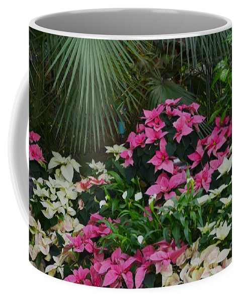 Palm Coffee Mug featuring the photograph Palms And Flowers by Kathleen Struckle