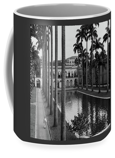 Exterior Coffee Mug featuring the photograph Palm Trees Bordering A Pool by Luis Lemus
