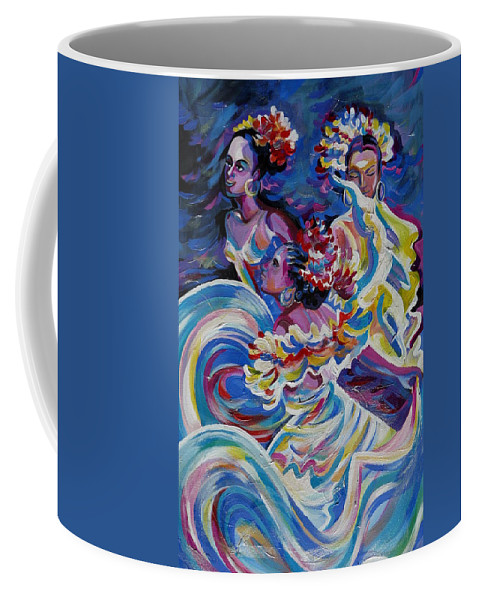 Carnival Coffee Mug featuring the painting Panama Carnival. Folk Dancers by Anna Duyunova