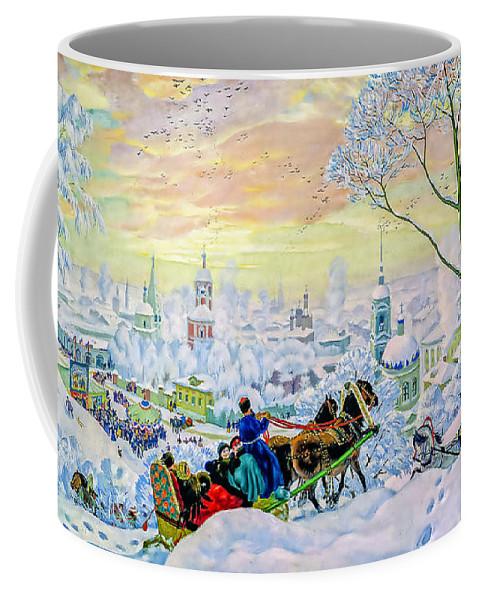 People. Snow Coffee Mug featuring the painting Pancake Week by Viktor Birkus