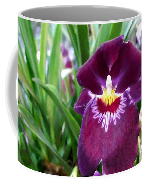 Pancy Orchid Coffee Mug featuring the painting Pancy Orchid by Jeelan Clark