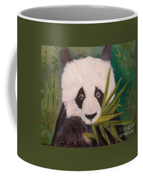 Panda Bear Coffee Mug featuring the painting Panda Jenny Lee Discount by Jenny Lee