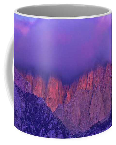 Eastern Sierras Coffee Mug featuring the photograph Panorama Alpenglow On Mount Whitney Eastern Sierras California by Dave Welling