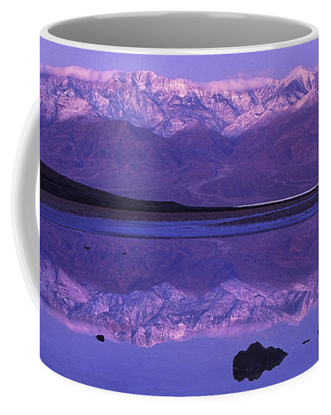 North America Coffee Mug featuring the photograph Panorama Badwater And The Panamint Range At Sunrise Death Valley by Dave Welling