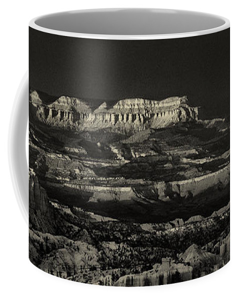 North America Coffee Mug featuring the photograph Panorama Bryce Canyon Storm In Black And White by Dave Welling