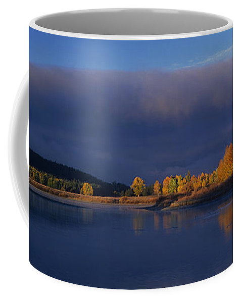 North America Coffee Mug featuring the photograph Panorama Clearing Storm Oxbow Bend Grand Tetons National Park Wyoming by Dave Welling