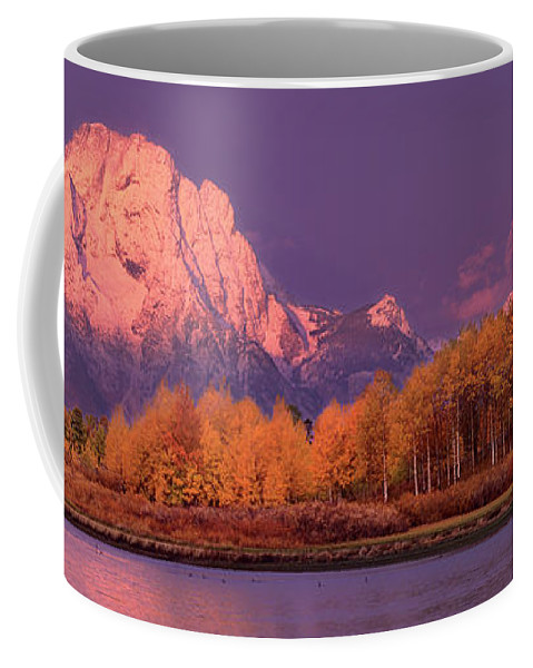 America Coffee Mug featuring the photograph Panorama Dawn Lights Up Mount Moran In Grand Tetons National Park by Dave Welling