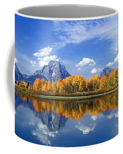 America Coffee Mug featuring the photograph Panorama Fall Morning At Oxbow Bend Grand Tetons National Park by Dave Welling