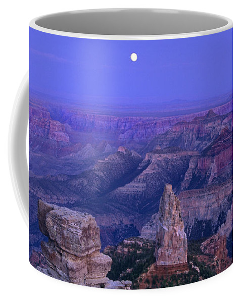 North America Coffee Mug featuring the photograph Panorama Moonrise Over Point Imperial Grand Canyon National Park by Dave Welling