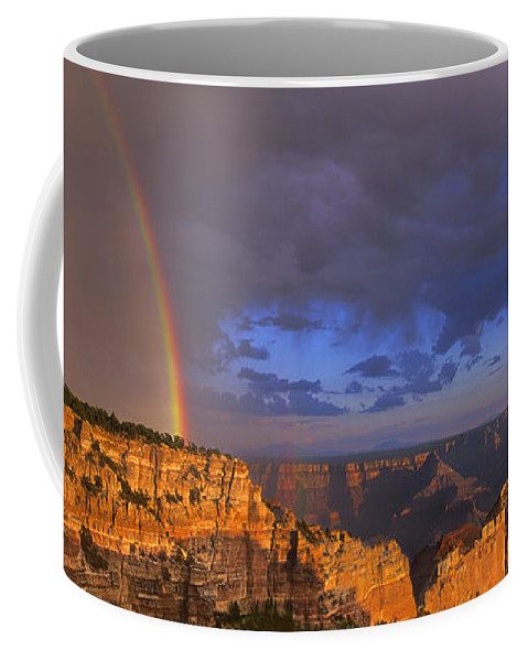 North America Coffee Mug featuring the photograph Panorama Rainbow Over Cape Royal North Rim Grand Canyon National Park by Dave Welling