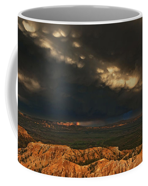 North America Coffee Mug featuring the photograph Panorama Storm Clouds Over Bryce Canyon National Park Utah by Dave Welling