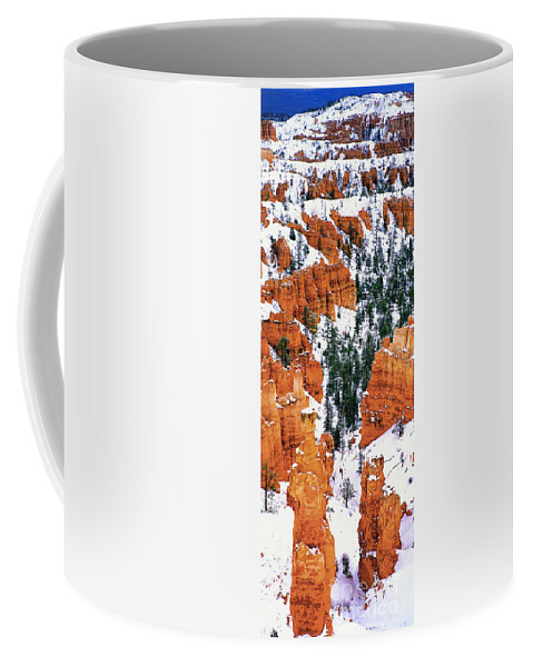 North America Coffee Mug featuring the photograph Panorama Winter Storm Blankets Thors Hammer And Bryce Canyon by Dave Welling