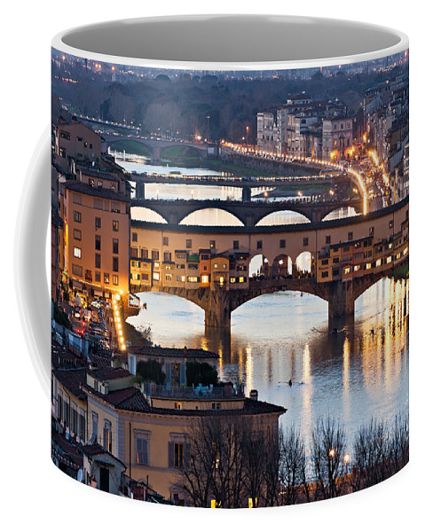 Arch Coffee Mug featuring the photograph Panoramic View Of Ponte Vecchio - Florence - Tuscany by Luciano Mortula
