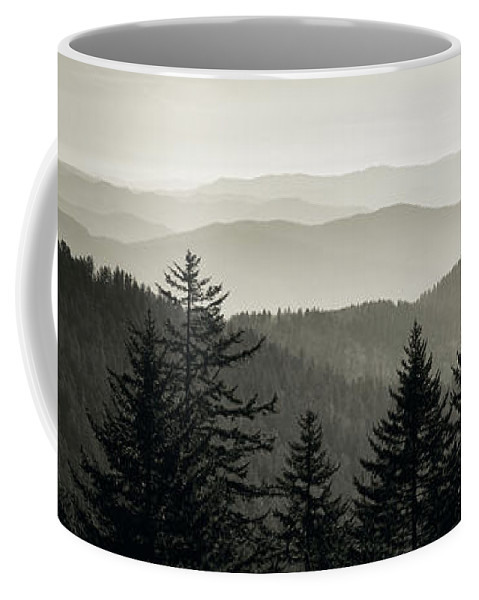 Photography Coffee Mug featuring the photograph Panoramic View Of Trees With A Mountain by Panoramic Images