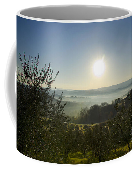 Panorama Coffee Mug featuring the photograph Panoramic View Over The Foggy Field by Mats Silvan