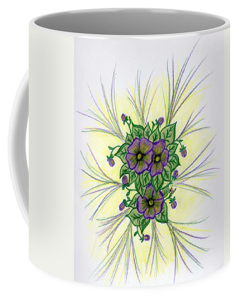 Pansy Coffee Mug featuring the drawing Pansies by Susan Turner Soulis