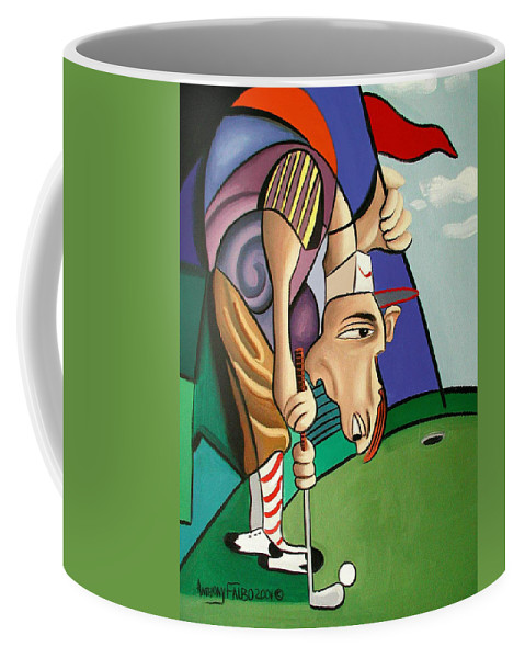Par For The Course Coffee Mug featuring the painting Par For The Course by Anthony Falbo