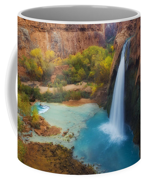 Havasu Falls Coffee Mug featuring the photograph Paradise Falls by Peter Coskun