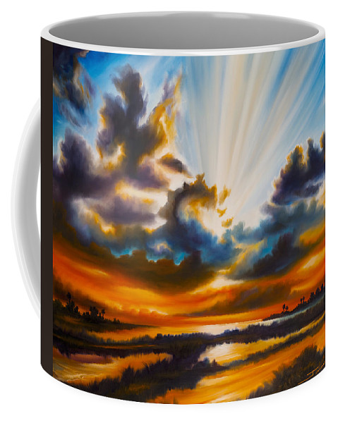 Sunrise Coffee Mug featuring the painting Paradise by James Christopher Hill