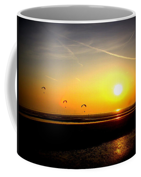 Paraglider Coffee Mug featuring the photograph Paragliders At Sunset by Steve Kearns