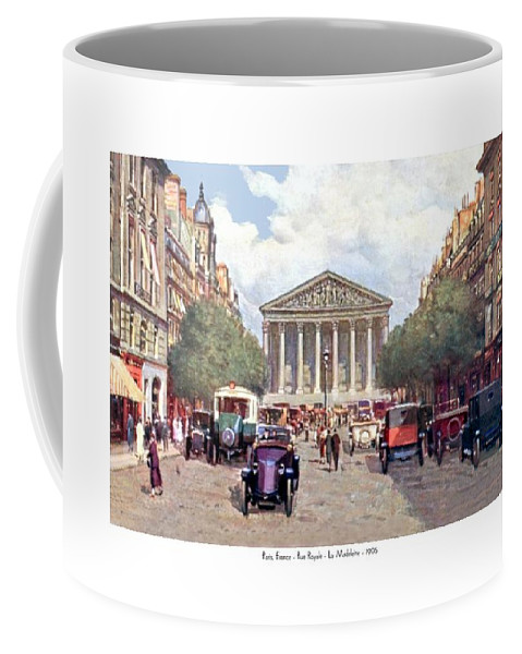 France Coffee Mug featuring the digital art Paris France - The Rue Royal And The Madeleine - 1910 by John Madison