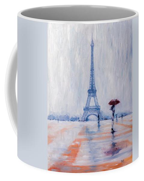Girl Coffee Mug featuring the painting Paris In Rain by Kovacs Anna Brigitta