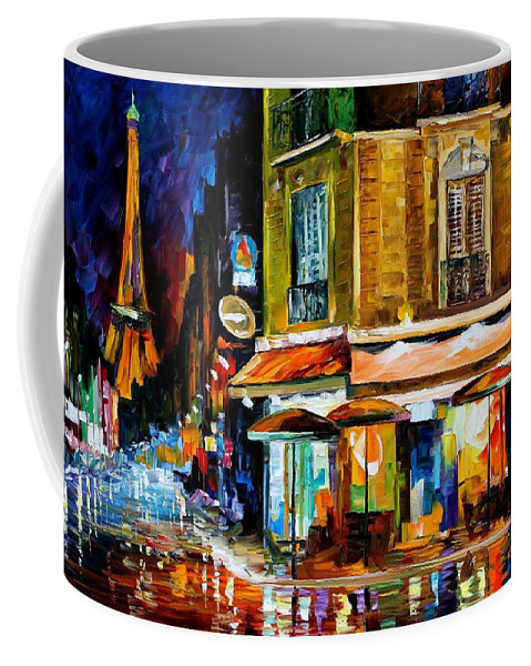 Oil Paintings Coffee Mug featuring the painting Paris-recruitement Cafe - Palette Knife Oil Painting On Canvas By Leonid Afremov by Leonid Afremov