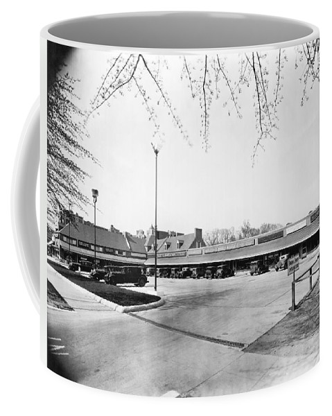 1930 Coffee Mug featuring the photograph Park & Shop Early Strip Mall by Underwood Archives
