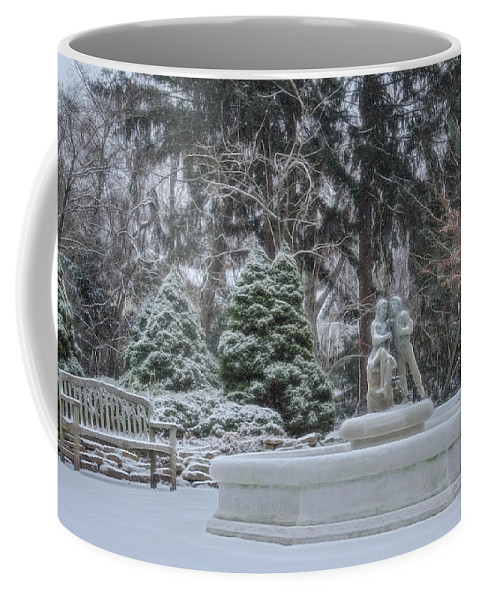 Sayen Gardens Winter Series Coffee Mug featuring the photograph Park Fountain During Winter Snowfall At Sayen Gardens by Beth Sawickie