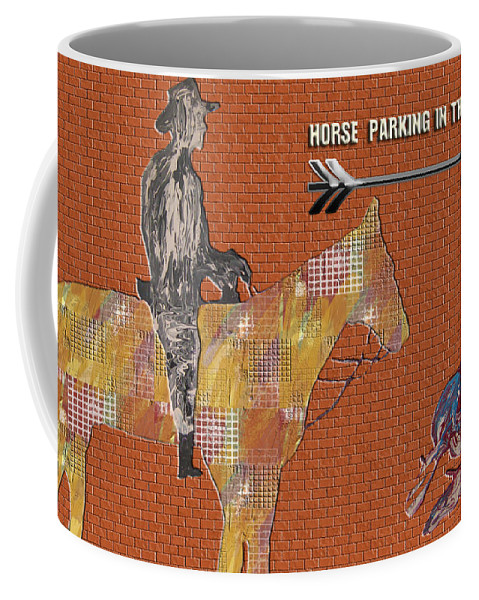 Horse Coffee Mug featuring the painting Parking In The Rear by Robert Margetts