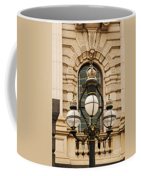 Melbourne Australia Parliament Building Lights Light Buildings Structure Architecture City Cities Cityscape Cityscapes Odds And Ends Coffee Mug featuring the photograph Parliament Lights by Bob Phillips