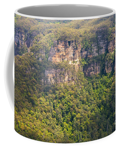 Blue Mountains Australia Mountain Tree Trees Plant Plants Landscape Landscapes Lincoln Rock Lookout Lookouts Rocks The King's Tableland Coffee Mug featuring the photograph Partially Sunny by Bob Phillips