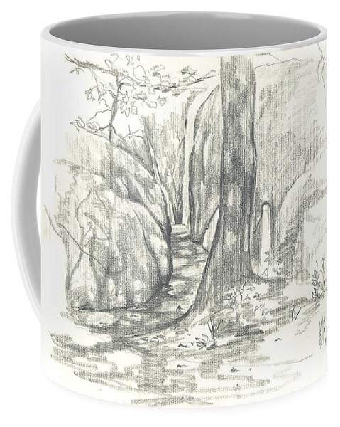 Passageway At Elephant Rocks Coffee Mug featuring the drawing Passageway At Elephant Rocks by Kip DeVore