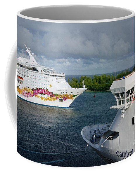 Bahamas Coffee Mug featuring the photograph Passing Cruise Ships by Amy Cicconi