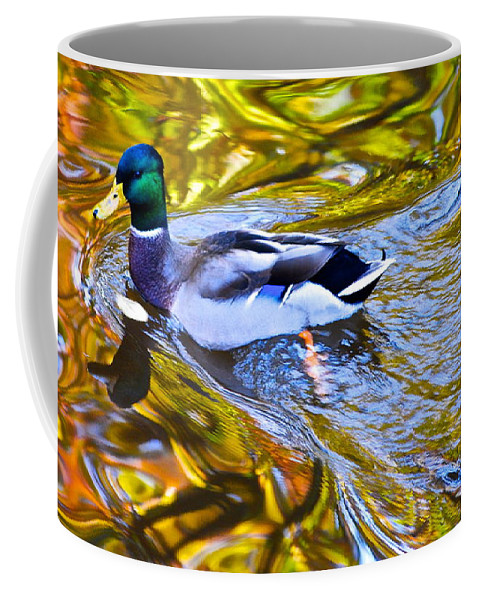 Mallard Coffee Mug featuring the photograph Passing Through by Frozen in Time Fine Art Photography